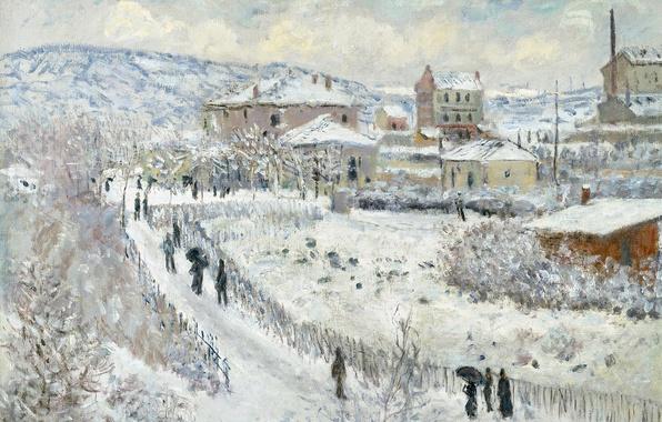 Картинка зима, картина, городской пейзаж, Клод Моне, Вид Аржантёй в Снегу
