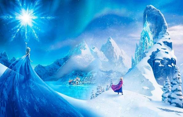 Картинка снег, горы, город, звезда, лёд, Frozen, принцесса, Анна, Королева, Anna, Queen, снежинка, Walt Disney, анимация, …