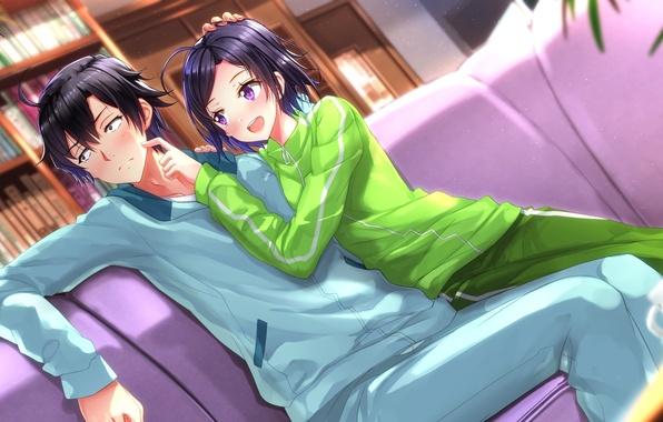 Картинка девушка, парень, anime, art, брат, Komachi Hikigaya, oregairu, Hachiman Hikigaya