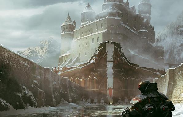 Картинка лед, вода, снег, город, замок, скалы, человек, арт, броня, спиной