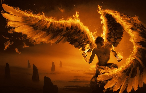 Картинка скалы, огонь, крылья, перья, арт, парень