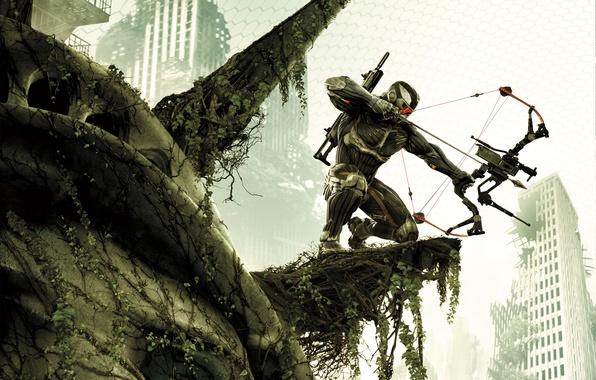 Картинка оружие, дома, Нью-Йорк, лук, солдат, автомат, разруха, стрела, Статуя Свободы, листя, нанокостюм, Crytek, Crysis 3