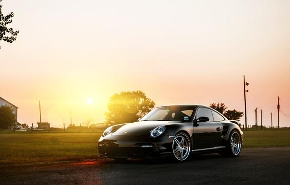 Картинка солнце, чёрный, 911, 997, Porsche, порше, black, блик, front, Turbo