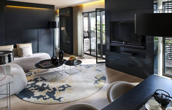 Картинка дизайн, стиль, стол, лампы, комната, диван, черный, интерьер, телевизор, балкон, фрукты, бежевый, гостиная, столики