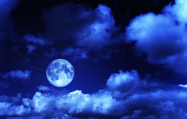 Картинка небо, звезды, облака, ночь, луна