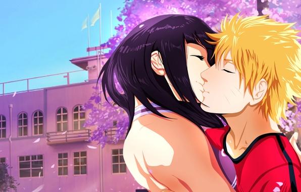 Картинка девушка, здание, поцелуй, сакура, арт, пара, парень, naruto, uzumaki naruto, hyuuga hinata, narutospoiler