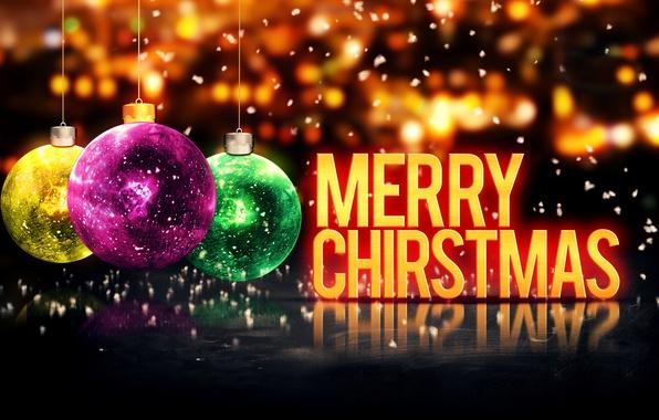 Картинка Новый Год, Рождество, Christmas, balls, New Year, Happy, Merry