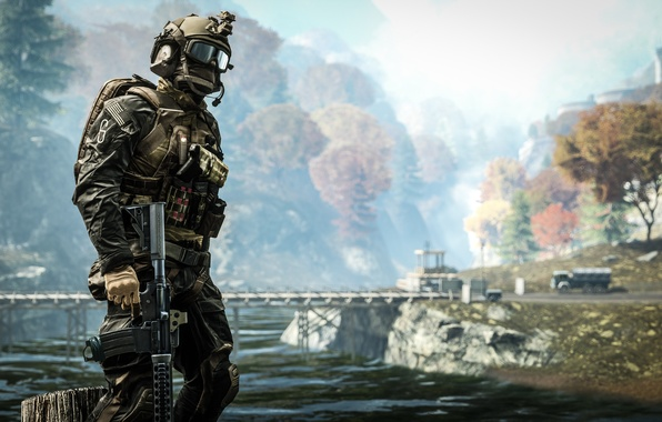 Фото обои пейзаж, фон, солдат, экипировка, Battlefield 4