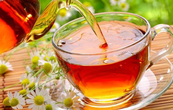 Картинка стекло, цветы, чай, ромашки, чашка, блюдце, циновка