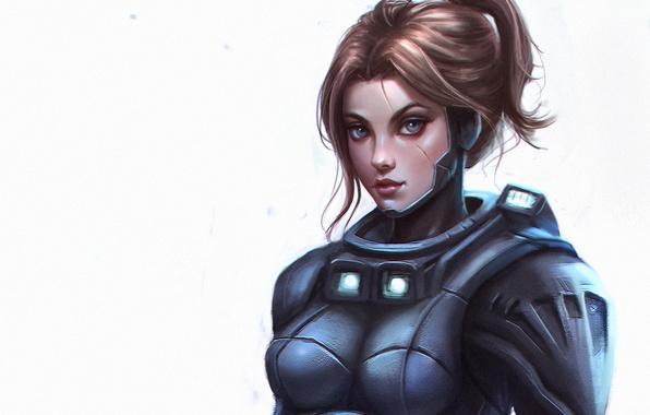 Картинка взгляд, девушка, красота, воин, арт, солдат, костюм, future warrior