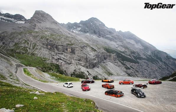 Картинка дорога, горы, McLaren, Jaguar, Mustang, Ford, 911, Porsche, BMW, Volkswagen, Bugatti, Ferrari, Boss 302, Veyron, …