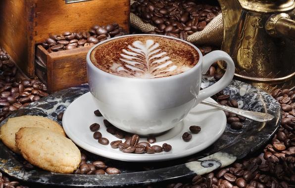 Картинка пена, узор, кофе, зерна, печенье, чашка, капучино, блюдце, поднос, шкафчик, турка, латте-арт