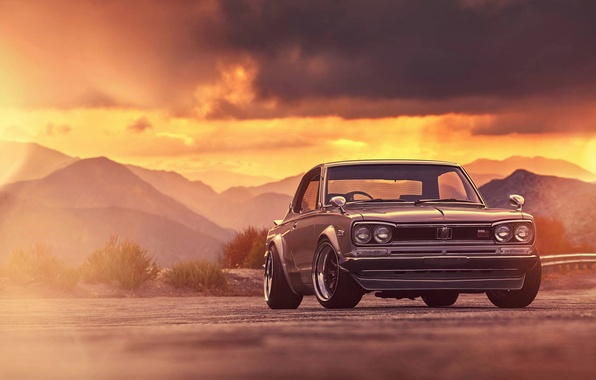 Картинка Nissan, GTX, Car, Classic, 2000, Front, Sunset, Skyline, Old