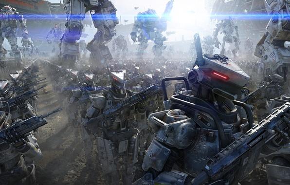 Картинка металл, оружие, армия, роботы, Меха, Огр, строй, космические корабли, Electronic Arts, Атлас, Atlas, Ogre, Respawn …