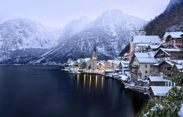Картинка зима, снег, горы, озеро, Австрия