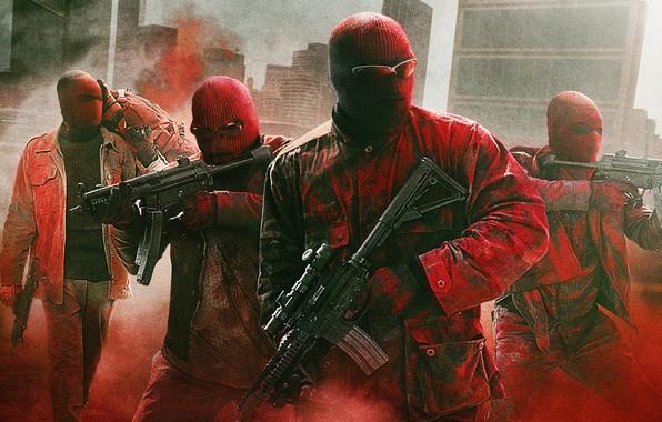 Картинка оружие, очки, маски, постер, ограбление, копы, криминал, автоматы, полицейские, Три девятки, Triple 9
