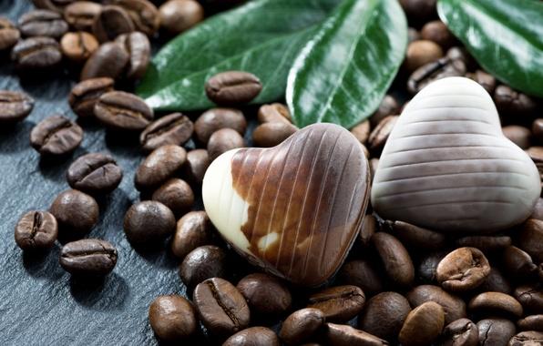 Картинка кофе, шоколад, конфеты, кофейные зёрна, зёрна, шоколадные конфеты
