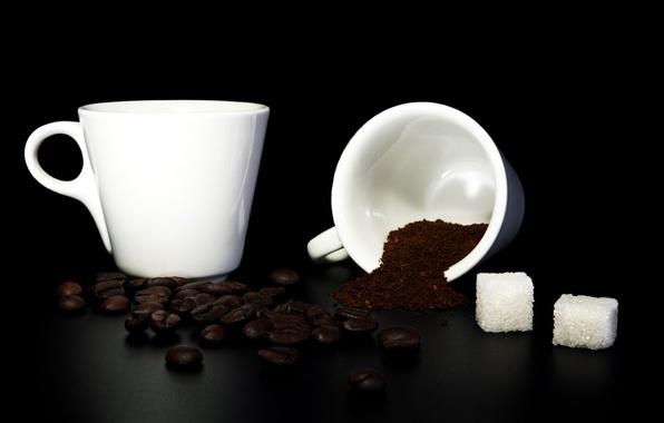 Картинка кофе, зерна, сахар, кружки, молотый