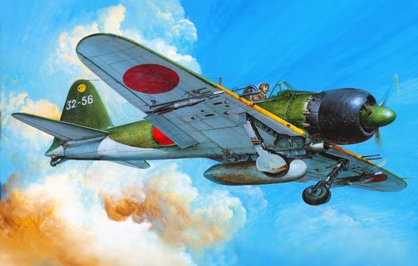 Картинка рисунок, истребитель, арт, Mitsubishi, самолёт, японский, палубный, времён, Второй мировой войны, A6M5c, Zerosen