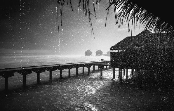 Картинка ночь, дождь, океан, бунгало, Rain, Maldives, Fuji, прис