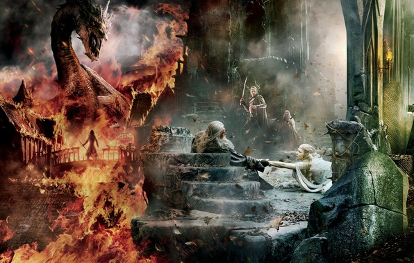 Картинка Dragon, Fire, Wallpaper, Gandalf, Ian McKellen, Benedict Cumberbatch, Hugo Weaving, Weapons, Galadriel, Smaug, Sword, Elrond, …