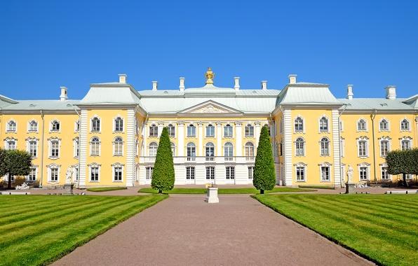 Картинка газон, дорожки, Санкт-Петербург, Россия, дворец, скульптуры, Peterhof