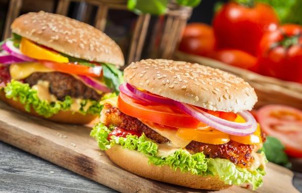 Картинка еда, сыр, лук, доска, перец, овощи, помидоры, котлета, булка, кунжут, фаст фуд, гамбургеры, сэндвичи