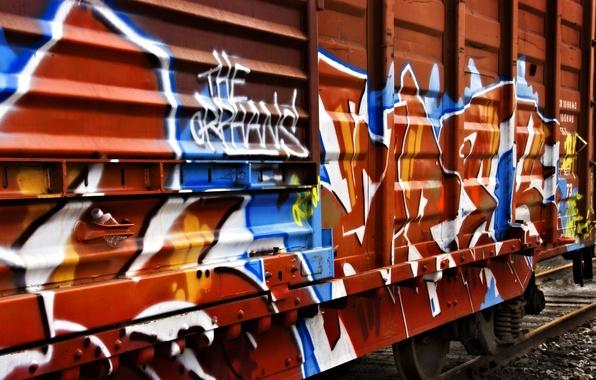 Картинка граффити, поезд, вагон