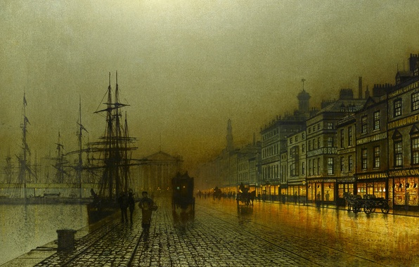 Картинка ночь, огни, река, люди, корабль, дома, картина, причал, набережная, John Atkinson, Greenock Harbour at Night