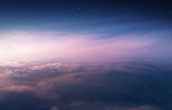 Картинка небо, звезды, облака, закат, высота, арт