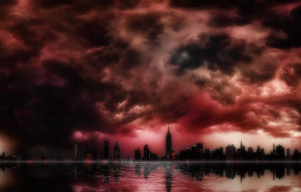 Картинка небо, свет, тучи, небоскребы, Город, залив