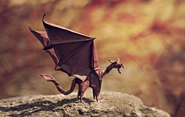 Картинка дракон, крылья, тень, злой, rock, рок, оригами, wings, боке, bokeh, dragon, origami, shadow, angry, flame ...