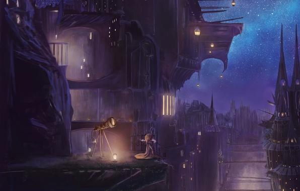 Картинка небо, звезды, ночь, город, дома, аниме, арт, фонари, пар, девочка, телескоп, popopo5656