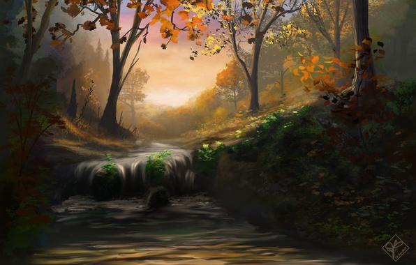 Картинка осень, лес, листья, деревья, природа, река, водопад, поток, арт