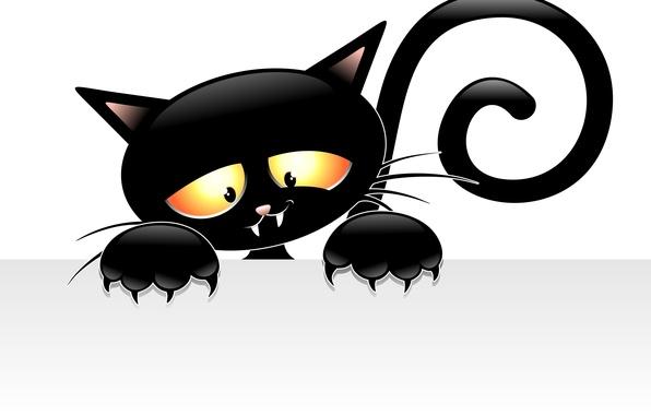 Картинка взгляд, фон, лапки, вектор, хвост, когти, уши, черный кот