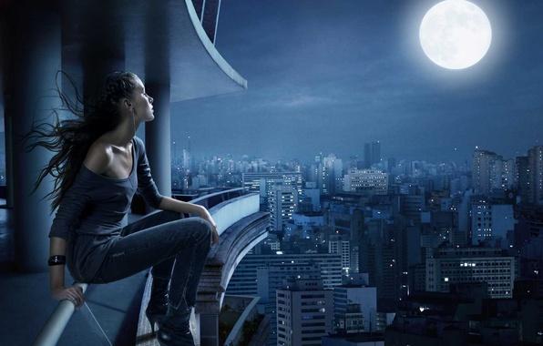 Картинка грусть, мечта, ночь, город, одиночество, луна, тишина