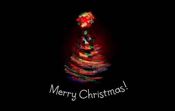 Картинка свет, огни, праздник, елка, новый год, ель, черный фон, new year, merry christmas, holiday