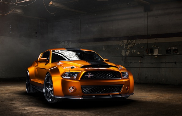 Картинка Mustang, Ford, Shelby, GT500, мускул кар, muscle car, front, orange, обвес, Super Snake, Ultimate Auto, …