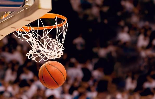 Картинка корзина, спорт, игра, размытость, кольцо, щит, баскетбол, basketball, болельщики, стадион, зрители, боке, попадание, jam, бросок, …