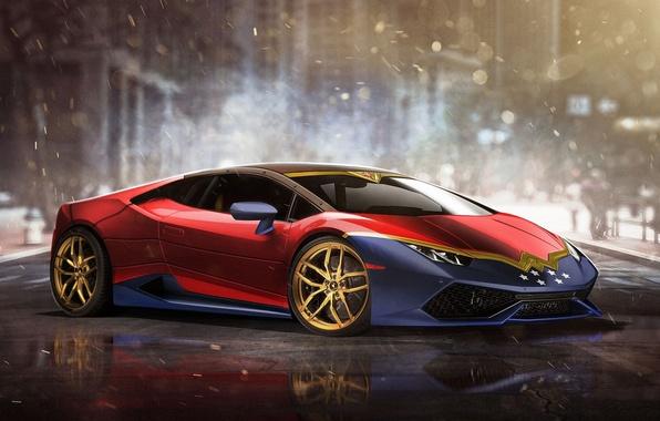 Картинка авто, Wonder Woman, Superheroes, auto, супергерой, Marvel, Марвел, Lamborghini Huracan