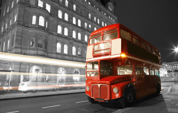 Картинка дорога, ночь, city, город, lights, огни, черно-белый, улица, Англия, Лондон, размытие, автобус, london, road, night, ...