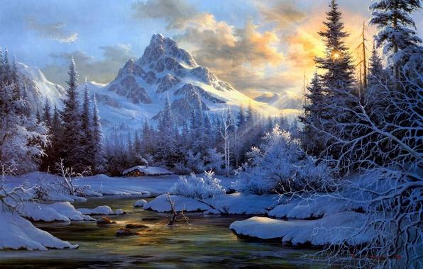 Картинка зима, лес, снег, пейзаж, закат, горы, природа, река, дым, ели, сугробы, хижина, живопись, изба, солнечные …