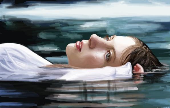 Картинка вода, девушка, лицо, отражение, рука, арт, лежит, голубые глаза, живопись