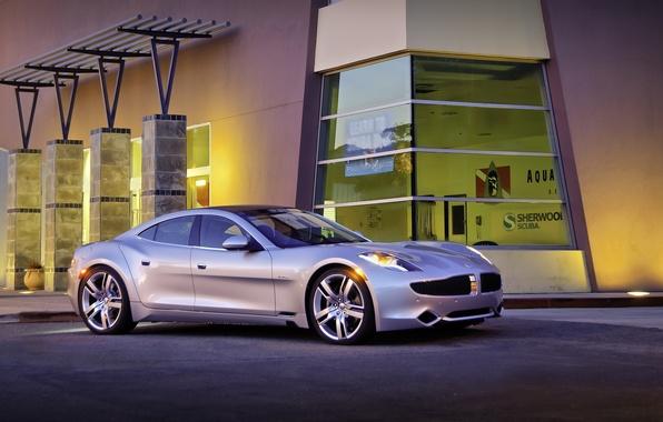 Картинка машина, авто, серебристый, автомобиль, cars, Fisker, здание., Karma Ever