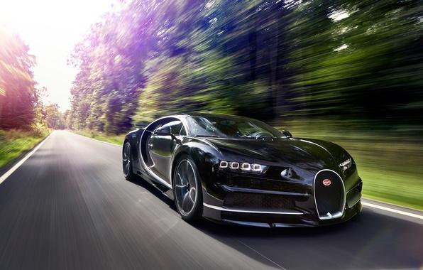 Картинка car, Bugatti, logo, supercar, speed, asphalt, Chiron, Bugatti Chiron