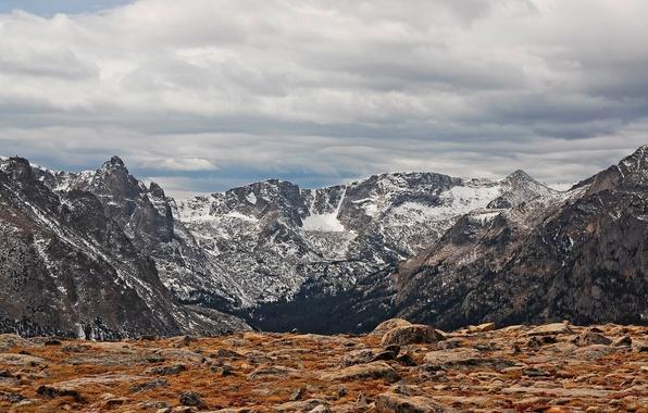 Картинка снег, горы, камни