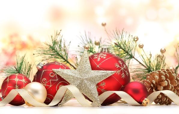 Картинка шарики, праздник, шары, игрушки, звезда, елка, ветка, Новый Год, Рождество, лента, красные, украшение, Christmas, шишки, …