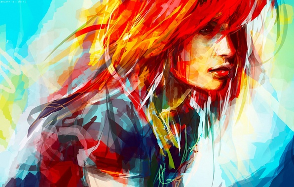 Картинка девушка, рисунок, портрет, штрихи, арт, красиво, ярко, мазки, разноцветно