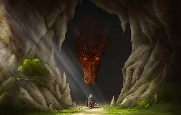 Картинка оружие, дерево, дракон, мышь, мышка, арт, пещера, солнечные лучи