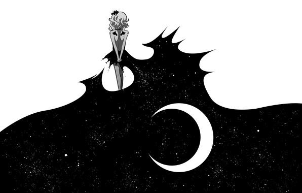 Картинка девушка, звезды, ночь, луна, спина
